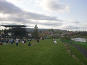 The stage and crowd in context