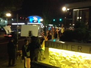 Protesters outside the venue