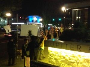 Protesters outside the venue